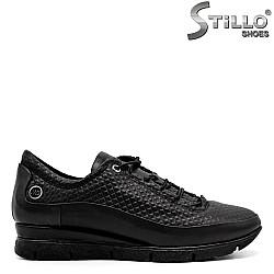 Кожени спортни обувки с щампа и ластични връзки  - 31186