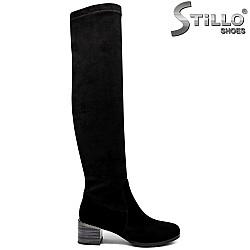 Велурени чизми на широк ток - 33879