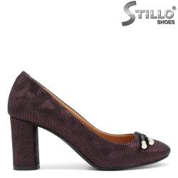 Бордо дамски обувки на ток- 31368
