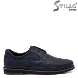 Сини кожени обувки с връзки - 31424