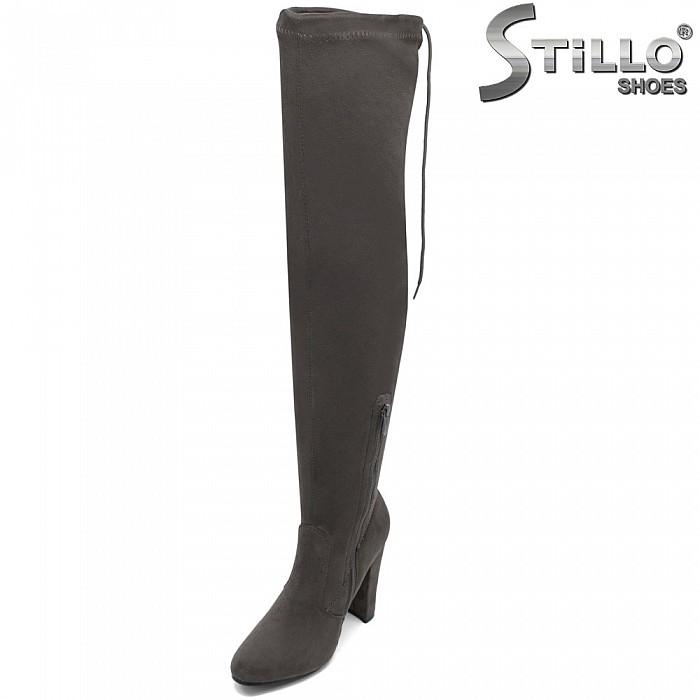 Сиви велурени чизми с връзки на висок ток - 31478
