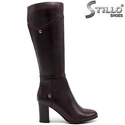 Кафяви стилни ботуши от естествена кожа - 31553