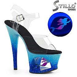 Сценични сандали на морско-синя платформа - 31722