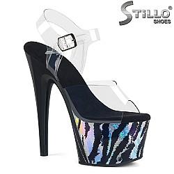 Сценични сандали с холографски принт на платформата - 31729