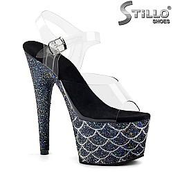 Сценични сандали на платформа с брокат - 31731