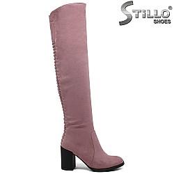 Розови дамски чизми от еко велур с ленти отзад - 31796