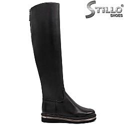 Дамски кожени чизми с натурална вата - 31798