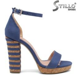 Дамски сини сандали на платформа и ток- 32067