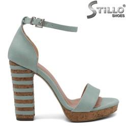 Дамски сандали цвят мента на платформа - 32069