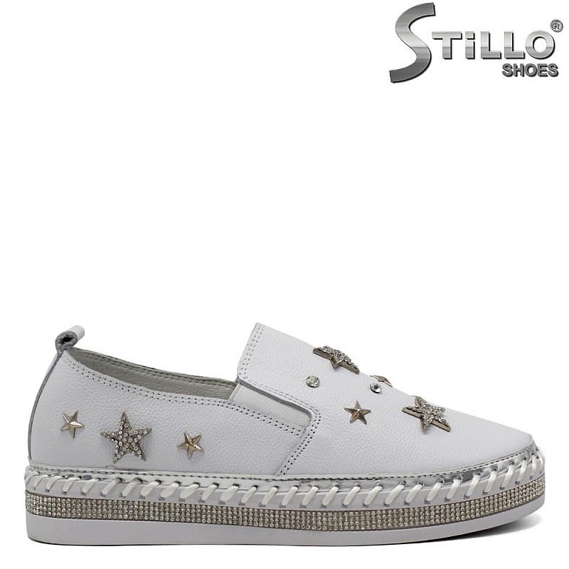 Дамски бели кецове с звезди -  32099