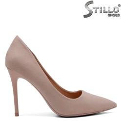 Бежови дамски обувки на висок ток - 32112