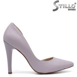 Лилави обувки от естествена кожа на висок ток - 32133