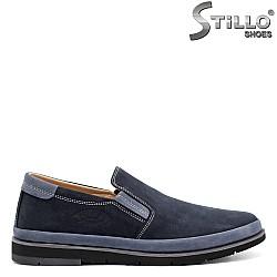 Сини мъжки обувки от естествен набук  - 32140