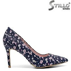 Сини обувки на цветя на висок ток - 32143