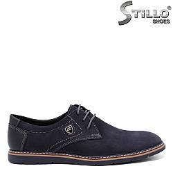Мъжки обувки в тъмносиньо с връзки - 32146