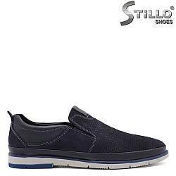 Сини мъжки обувки на равно ходило  - 32147