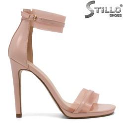 Розови сандали със силикон на висок ток - 32148