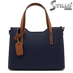 Дамска чанта от синя естествена кожа с кафяви дръжки - 32193