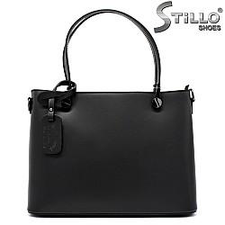Дамска кожена чанта с метални копчета - 32198