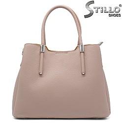 Тъмно бежова чанта от естествена кожа - 32215