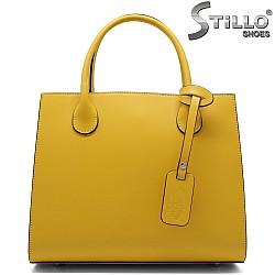 Жълта дамска чанта с три отделения - 32217