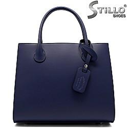 Дамска синя чанта с три отделения - 32220