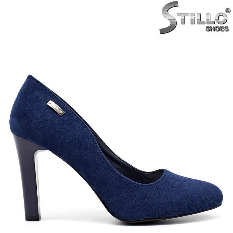 Сини дамски велурени обувки - 32277