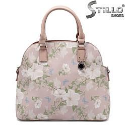 Розова дамска чанта на цветя - 32329