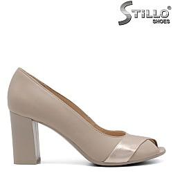 Отворени дамски бежови обувки - 32397