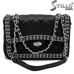 Дамска чанта на ромбчета със синджир - 32337