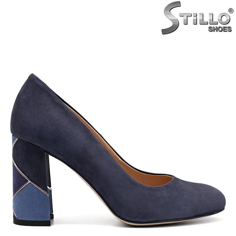 Обувки от син велур на висок ток в три цвята - 32431