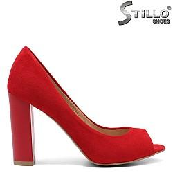 Червени велурени обувки с отворени пръсти - 32433