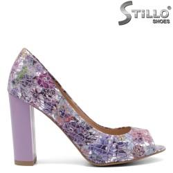 Лилави дамски обувки на цветя - 32435