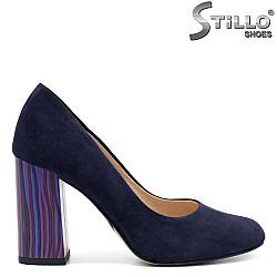 Сини велурени обувки на висок ток - 32456