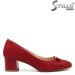 Червени велурени дамски обувки - 32520