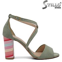 Зелени сандали на висок ток  - 32534