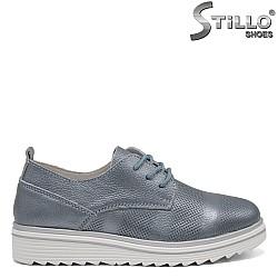 Обувки в син перлен цвят с връзки - 32561