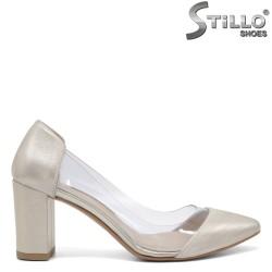 Златисти кожени обувки със силикон - 32562
