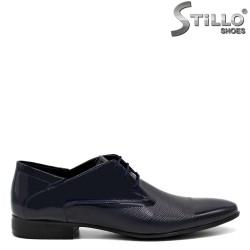 Мъжки лачени обувки в синьо - 32605