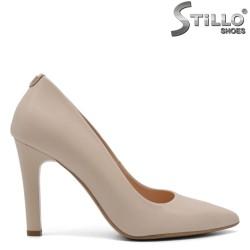 Дамски обувки на ток от естествена кожа - 32645