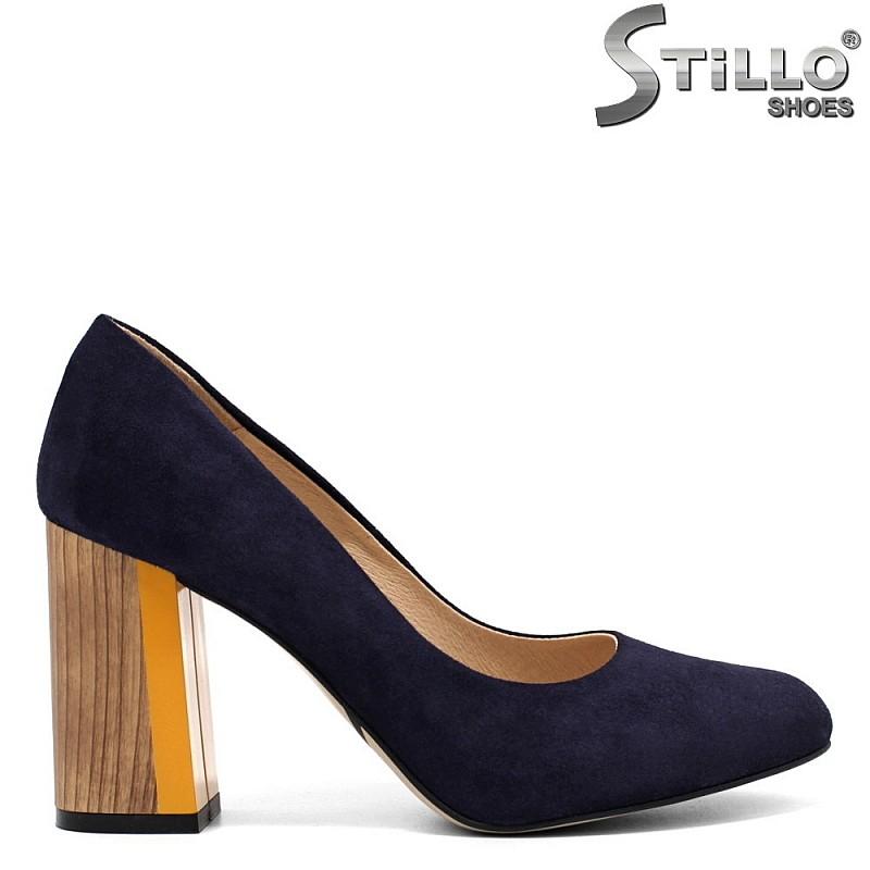 Сини велурени обувки на висок ток - 32649