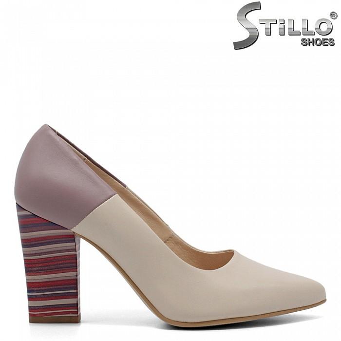 Дамски обувки на висок ток райе - 32690