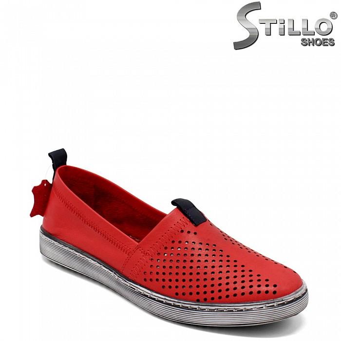 Червени кецове от естествена кожа - 32694