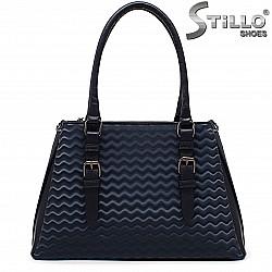 Синя дамска чанта с вълнички - 36447
