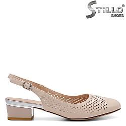 Дамски обувки на нисък ток с перфорация - 32806