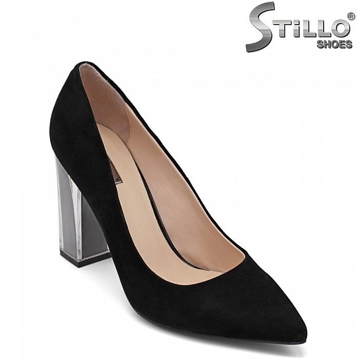 Велурени обувки на прозрачен висок ток - 32853