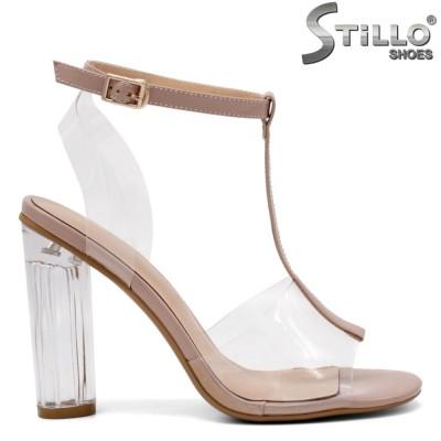 Модни силиконови сандали на прозрачен ток - 32912