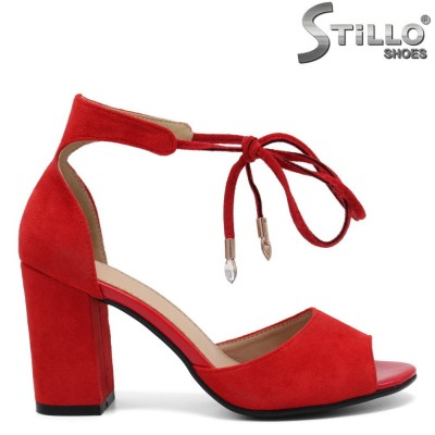 Червени дамски сандали на ток - 32947