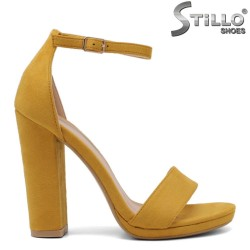 Дамски жълти сандали на висок ток - 32996