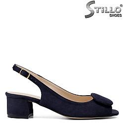 Дамски сини сандали на ток - 33053